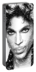 Prince - Tribute Sketch In Black And White Portable Battery Charger
