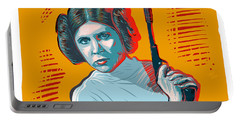 Portable Battery Charger featuring the digital art Princess Leia by Antonio Romero