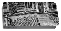 Portable Battery Charger featuring the photograph Princeton University Foulke Hall Bw by Susan Candelario
