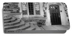 Portable Battery Charger featuring the photograph Princeton University Lockhart Hall Bw by Susan Candelario