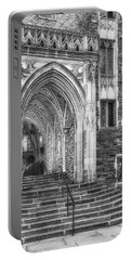 Portable Battery Charger featuring the photograph Princeton University Lockhart Hall Dorms Bw by Susan Candelario
