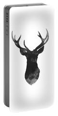 Gray Deer Art, Print Gift Idea, Deer Head Illustration, Gray Deer Art Portable Battery Charger