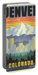 Denver Retro Travel Poster Portable Battery Charger