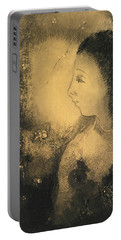 Profile Of A Woman With Flowers Portable Battery Charger