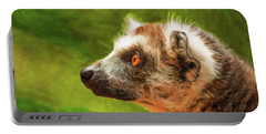 Profile Portrait Of Ring-tailed Lemur Portable Battery Charger