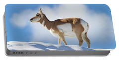 Pronghorn Doe On Snowy Ridge Portable Battery Charger