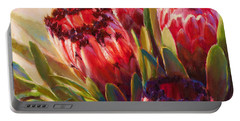 Portable Battery Charger featuring the painting Protea - Tropical Flowers From Hawaii by Karen Whitworth