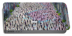 Portable Battery Charger featuring the painting Protesters by Judith Rhue