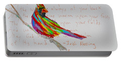 Proud Cardinal With Blessing Portable Battery Charger by Beverley Harper Tinsley
