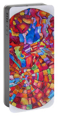 Psychedelic Abstract Portable Battery Charger by Megan Walsh