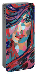 Psychedelic Jane - Contemporary Woman Art Portable Battery Charger
