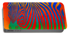 Psychedelic Rainbow Zebra Portable Battery Charger