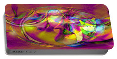 Portable Battery Charger featuring the digital art Psychedelic Sun by Linda Sannuti