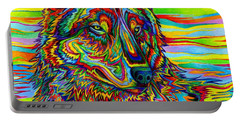 Psychedelic Wolf Portable Battery Charger