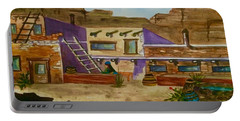 Portable Battery Charger featuring the painting Pueblo Afternoon by Ellen Levinson