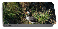 Portable Battery Charger featuring the photograph Puffin On Cliff Edge by Cliff Norton