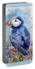 Puffin With Flowers Portable Battery Charger