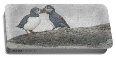 Puffins Kissing Portable Battery Charger
