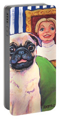 Pug - Beth Ann And Butch Portable Battery Charger by Rebecca Korpita