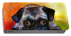 Pug Dog Portrait Painting Portable Battery Charger