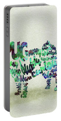 Portable Battery Charger featuring the painting Pug Dog Watercolor Painting / Typographic Art by Inspirowl Design