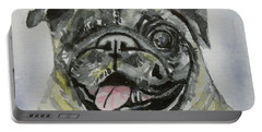 One Eyed Pug Portrait Portable Battery Charger