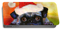 Pug Santa Portrait Portable Battery Charger