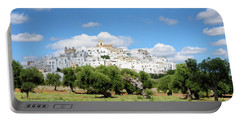Puglia White City Ostuni With Olive Trees Portable Battery Charger