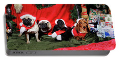 Pugs And Dachshounds Dressed As Father Christmas Portable Battery Charger