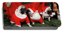 Pugs Dressed As Father-christmas Portable Battery Charger