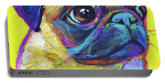 Portable Battery Charger featuring the painting Pugsly, A Closer Look by Robert Phelps