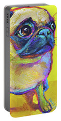 Portable Battery Charger featuring the painting Pugsly by Robert Phelps