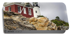 Pumphouse And Tower, Pemaquid Light, Bristol, Maine  -18958 Portable Battery Charger
