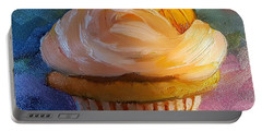 Portable Battery Charger featuring the painting Pumpkin Cupcake by Judy Fischer Walton
