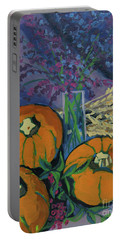 Portable Battery Charger featuring the painting Pumpkins And Wheat by Erin Fickert-Rowland