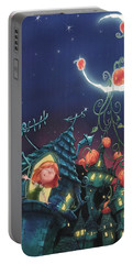 Pumpkins On The Moon Portable Battery Charger by Andy Catling