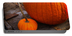 Pumpkins Sitting On Wooden Wagon Portable Battery Charger
