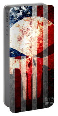 Punisher Skull And American Flag On Distressed Metal Sheet Portable Battery Charger