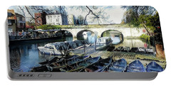 Portable Battery Charger featuring the digital art Punting On The Thames by Pennie McCracken