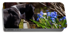 Puppy And Flowers Portable Battery Charger by Tamara Sushko
