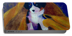 Portable Battery Charger featuring the painting Puppy Bath by Donald J Ryker III