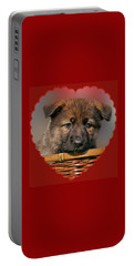 Portable Battery Charger featuring the photograph Puppy In Red Heart by Sandy Keeton