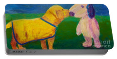 Portable Battery Charger featuring the painting Puppy Say Hi by Donald J Ryker III