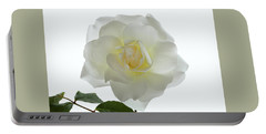 Pure White Rose Portable Battery Charger by Terence Davis