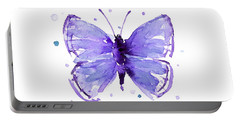 Purple Abstract Butterfly Portable Battery Charger