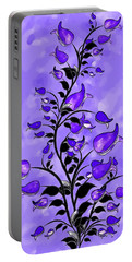 Purple Abstract Flowers Portable Battery Charger