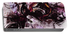 Portable Battery Charger featuring the painting Purple Abstract Painting / Surrealist Art by Ayse Deniz