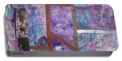 Portable Battery Charger featuring the mixed media Purple Abstract by Riana Van Staden
