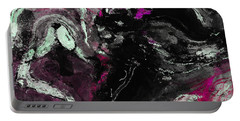 Portable Battery Charger featuring the painting Purple And Black Minimalist / Abstract Painting by Ayse Deniz
