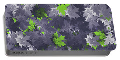 Portable Battery Charger featuring the digital art Purple And Green Leaves by Methune Hively